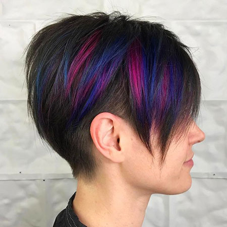Pixie Undercut Long Highlights