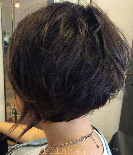 Dark Brown Bob Shag