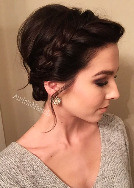 Braided Short Hair Bun, Updo Hairtyles Hair Wedding