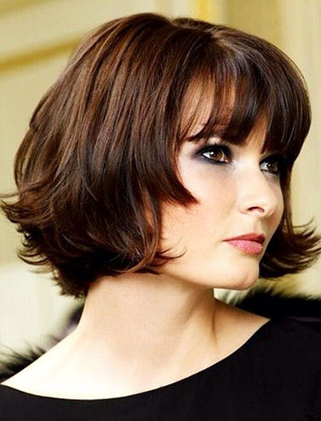 Jaw Length Bob with Full Bangs, Length Bob Hairtyles Medium