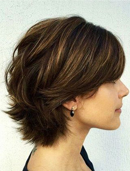 Dark Brown Thick Bob, Layered Short Thick Hair