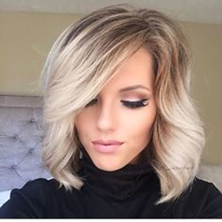 Thick Blonde Bob with Brown Roots, Blonde Hair Hairtyles Bob