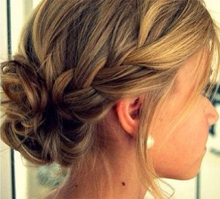 Side Braids, Updo Bridesmaid Bun Hair