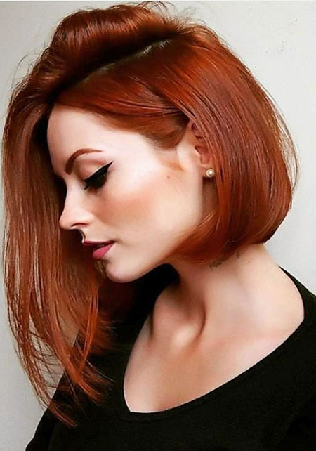 Asymmetrical Inverted Bob, Hair Color Red Side