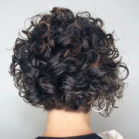 Back View of Curly Bob, Curly Bob Brunette Short