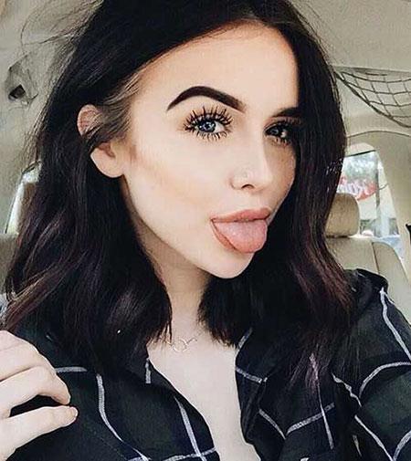 Cute Girl Hair Style, Women Makeup Kylie Bob