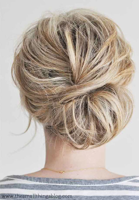 Low Bun, Updo Chignon Low Messy