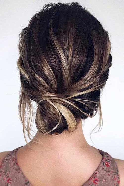 Low Bun Updos for Short Hair-9