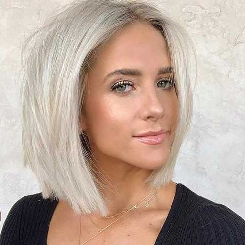 White Blonde Lob Haircut 2019-9