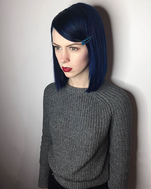 Blue Hair Color For Short Haircut